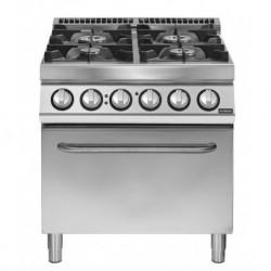 Cocina a gas de 4 fuegos sobre horno eléctrico GN 2/1