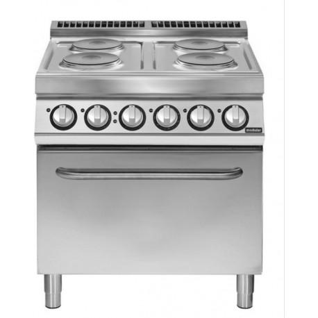 Cocina eléctrica 4 fuegos redondos con horno eléctrico GN 2/1 4x2,6 kW