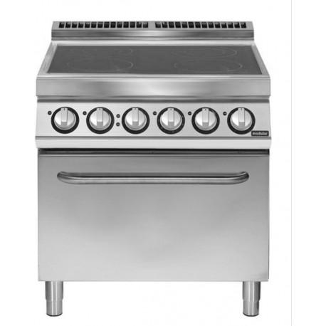 Cocina vitrocerámicas 4 zonas de cocción con horno eléctrico GN 2/1