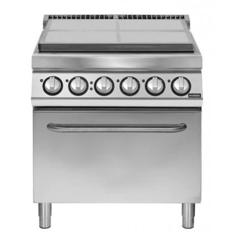 Placa radiante eléctrica con horno eléctrico GN 2/1 4 zonas de cocción
