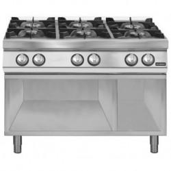 Cocina gas 6 fuegos sobre base abierta