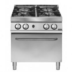 Cocina a gas 4 fuegos sobre horno gas GN 2/1