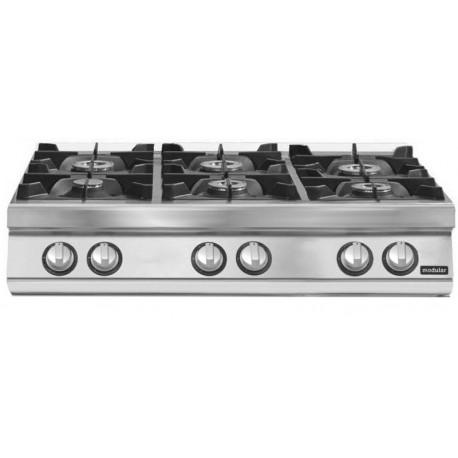 Cocina gas 6 fuegos versión top