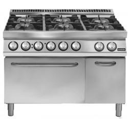 Cocina a gas 6 fuegos sobre horno eléctrico convección GN 2/1