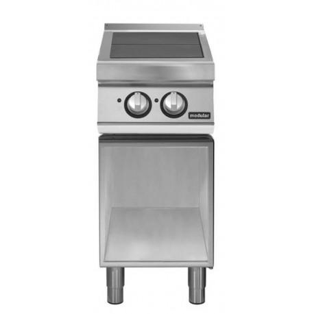 Cocina eléctrica con 2 planchas basculantes sobre base abierta
