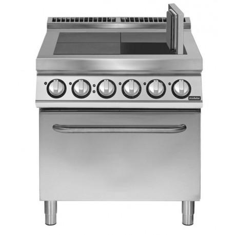 Cocina eléctrica 4 planchas basculantes con horno eléctrico convección