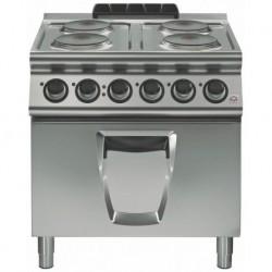 Cocina eléctrica 4 fuegos redondos con horno eléctrico GN 2/1