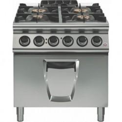 Cocina a gas 4 fuegos con horno eléctrico a convección GN 2/1