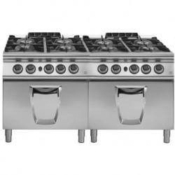 Cocina a gas 8 fuegos con 2 hornos gas GN 2/1