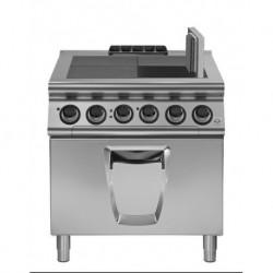 Cocina eléctrica con 4 planchas basculantes con horno eléctrico