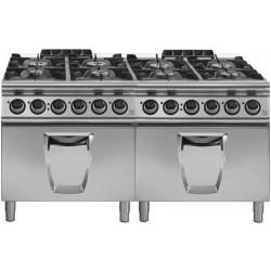 Cocina a gas 8 fuegos con 2 hornos eléctricos GN 2/1