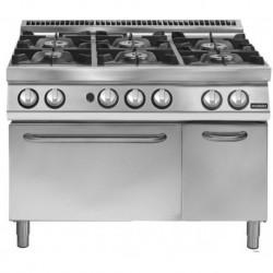 Cocina a gas de 6 fuegos sobre horno gas GN 2/1