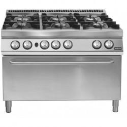 Cocina a gas 6 fuegos con horno gas GN 2/1