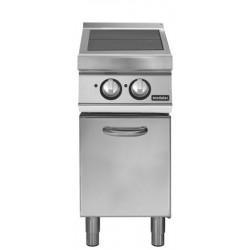 Cocina eléctrica con 2 planchas basculantes sobre base con puerta